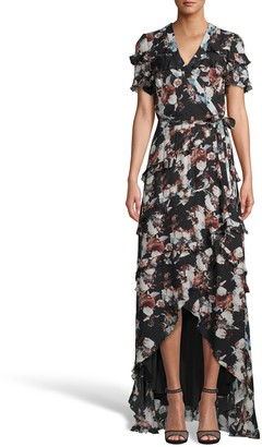 Nicole Miller Baroque Silk High Low Wrap Dress