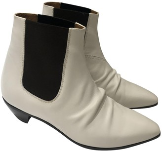 Celine Wrapped White Leather Ankle boots