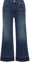 Mother The Roller Crop Undone Distressed High-rise Wide-leg Jeans - Mid denim