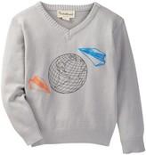 Beetle & Thread Globe & Paper Plane V-Neck Sweater (Baby Boys)