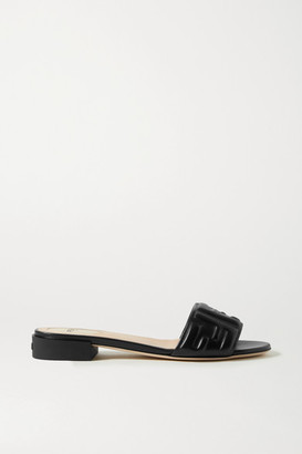 Fendi Logo-embossed Leather Sandals - Black