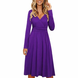KPILP Women's Long Sleeve V Neck Wrap Waist Casual Party Midi Dress with Pockets Solid Color Loose fit Casual High Waisted Flowy Swing A-line Casual Maxi Dresses(Purple XXL)