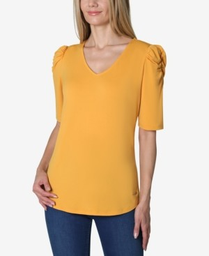 Adrienne Vittadini Elbow Puff Sleeve Solid V-Neck Knit Top