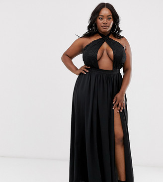 Lasula Plus cross front maxi dress with double thigh split in black