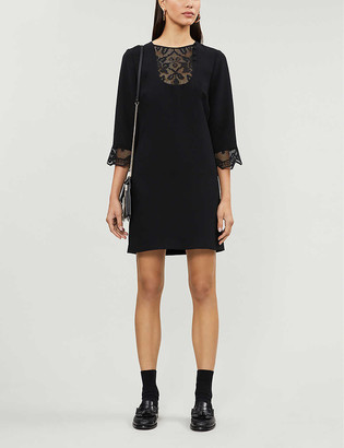 Claudie Pierlot Rizzie geometric-mesh woven mini dress
