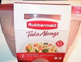 Rubbermaid Take Alongs Large Round Storage Container (pack of 2) 15.7 Cups / 3.7 L - Red Top