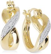 Townsend Victoria Diamond Accent X-Hoop Earrings in 18k Gold over Sterling Silver