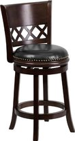 Flash Furniture TA-11024-CA-CTR-GG Counter Height Stool with Black Leather Swivel Seat, 24-Inch
