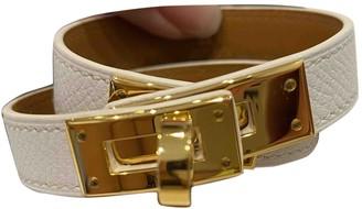Hermes Kelly Double Tour White Leather Bracelets