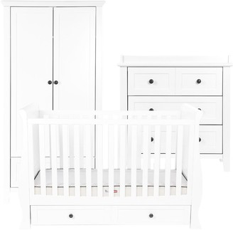 Silver Cross Nostalgia Sleigh Cotbed, Dresser and Wardrobe, White