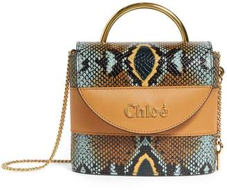 Chloé Small Leather Python-Embossed Aby Lock Bag