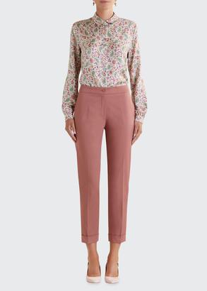 Etro Stretch Cotton Cuffed Solid Capri Pants