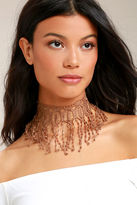 Natalie B Beverly Brown Lace Choker Necklace