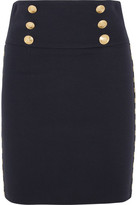 Pierre Balmain Chain-embellished Cotton-blend Twill Mini Skirt - Navy