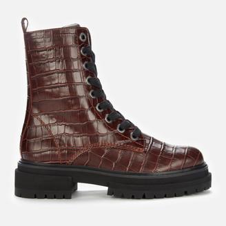 Kurt Geiger Women's Siva Croc Print Leather Lace Up Boots - Wine