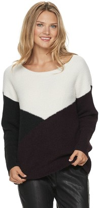 Apt. 9 Petite Colorblock Eyelash Crewneck Sweater