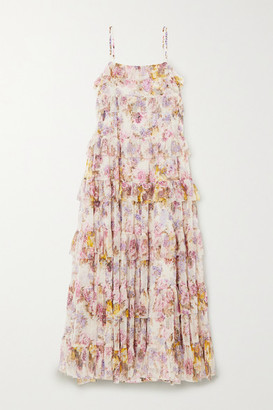 Needle & Thread Jasmine Hemsley Harmony Ruffled Floral-print Tulle Midi Dress - Ecru