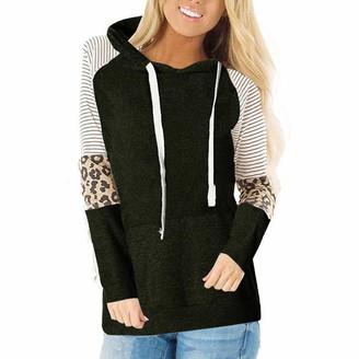 Lialbert Women's Leopard Color Block Tunic Comfy Stripe Hoodie Round Neck Large Pocket Sweatshirt Tops Army Green