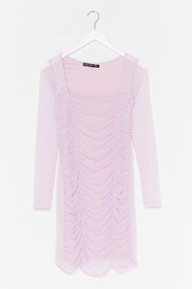 Nasty Gal Womens On Our Mesh Behaviour Ruched Mini Dress - Lilac