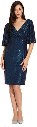 Adrianna Papell Womens Blue Sequin Midi Dress - Blue