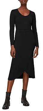 Whistles Jersey Knit Faux Wrap Ballet Midi Dress