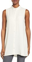 Eileen Fisher Women's Silk Georgette Crepe Stand Collar Tunic