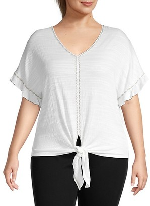 Max Studio Plus Knotted V-Neck Top