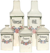 One Kings Lane Vintage Faience Canisters & Cruets - Set of 5 - Chez Vous - white/black/multi