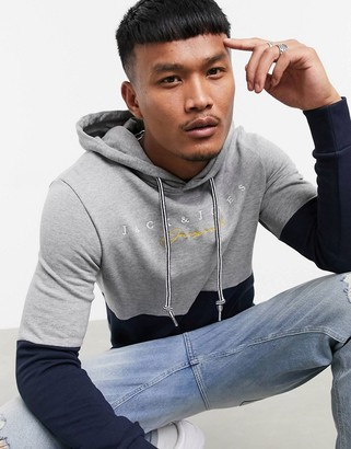 Jack and Jones Originals hoodie in colorblock gray and navy