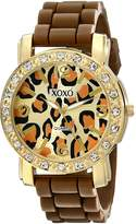 XOXO Women's XO8057 Rhinestones Accent Brown Silicone Strap Watch