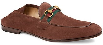Gucci Web Brixton Suede Loafers