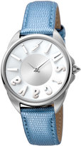 Just Cavalli 34mm Logo Stainless Steel Watch w/ Leather Strap, Silver/Blue