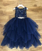 Precious Kids Girls' Special Occasion Dresses NAVY - Navy Blue Floral Tiered Sleeveless A-Line Dress - Girls