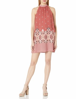Taylor & Sage Women's High Neck Sleeveless Dress with Border Print