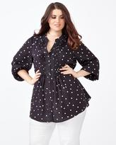 Penningtons MELISSA McCARTHY Long Sleeve Printed Pintuck Blouse