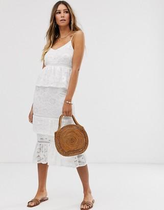 Vila tiered cami dress-White
