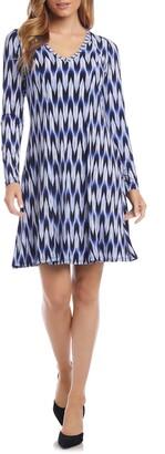 Karen Kane Zigzag Print Long Sleeve A-Line Dress