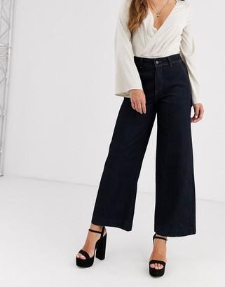 Object wide leg jean in dark indigo
