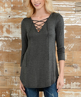 Celeste Charcoal Lace-Up Tunic