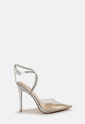 Missguided Silver Clear Toe Embellished Court Heels