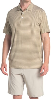 Puma Caddie Brown Stripe Golf Polo
