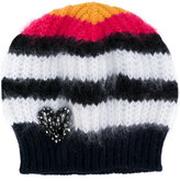 No.21 heart embellished knitted beanie