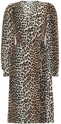Ganni Leopard-printed silk-blend dress