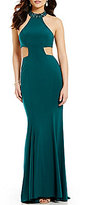 GB Social Jeweled Mock Neck Cutout Gown