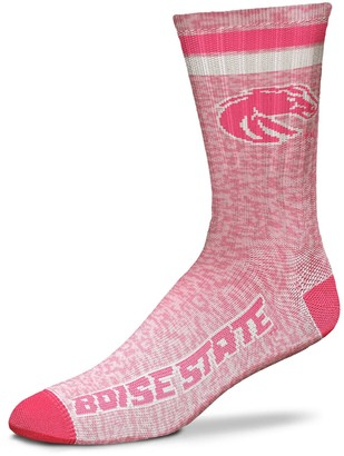 For Bare Feet Women's Boise State Broncos Pretty in Pink Crew Socks