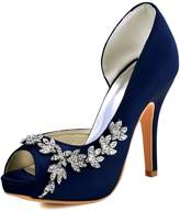 ElegantPark HP1560IAC Women Satin Peep Toe D'Orsay Pumps High Heel Rhinestones Evening Party Shoes Navy Blue US 10