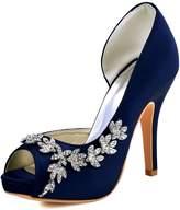 ElegantPark HP1560IAC Women Satin Peep Toe D'Orsay Pumps High Heel Rhinestones Evening Party Shoes US 10