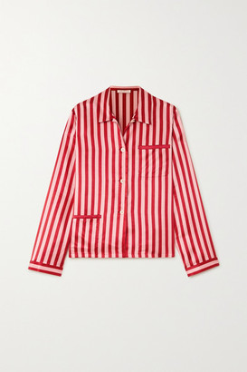 Morgan Lane Ruthie Striped Satin Pajama Shirt - Red