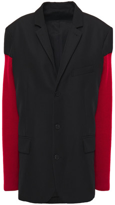 Haider Ackermann Two-tone Ribbed Knit-paneled Wool-cady Blazer