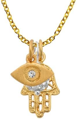 Aeravida Handmade Spiritual Gold Over Silver Hamsa Hand Evil Eye Cubic Zirconia Ball Gold Necklace